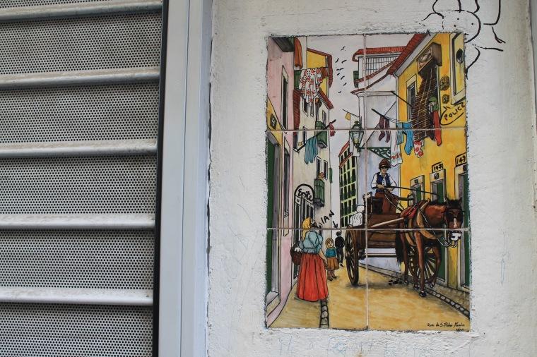 Aflame street art tile mosaic
