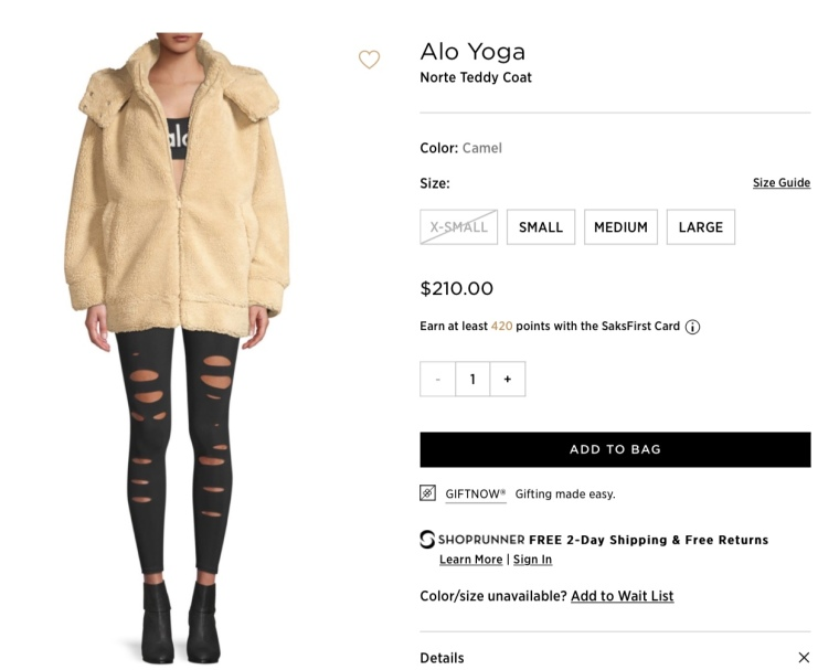Alo Yoga Teddy Coat